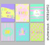 set of 6 bright freehand... | Shutterstock .eps vector #405816952