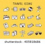 set of travel icon doodle
