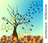 Tree Silhouette With Birds...