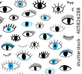 hand drawn eye doodles seamless ... | Shutterstock .eps vector #405826288