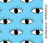 hand drawn eye doodles seamless ... | Shutterstock .eps vector #405826312