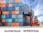 containers at the docks with... | Shutterstock . vector #405834166