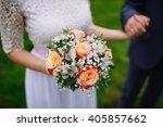 bride is holding beautiful... | Shutterstock . vector #405857662