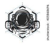 astronaut with a geometric... | Shutterstock .eps vector #405868696