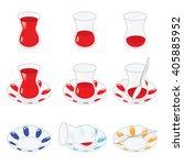 set of turkish tea and... | Shutterstock .eps vector #405885952