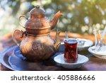 drinking traditional turkish...   Shutterstock . vector #405886666