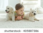 cute little girl with a dog... | Shutterstock . vector #405887386