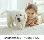 cute little girl with a dog... | Shutterstock . vector #405887422