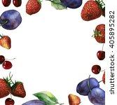 watercolor fruit and berry... | Shutterstock . vector #405895282