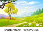 Scenic Spring Landscape With...