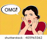 omg the woman in shock pop art... | Shutterstock .eps vector #405965362
