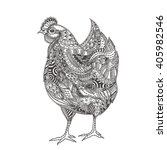 Hand Drawn Hen With Ethnic...