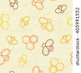 seamless honey pattern with... | Shutterstock .eps vector #405991552