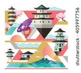 travel to japan collage flat... | Shutterstock .eps vector #405997756