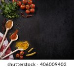 various spices on rustic black... | Shutterstock . vector #406009402