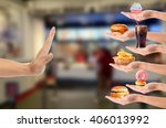 hand refusing junk food with... | Shutterstock . vector #406013992