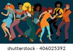 people dressed in 1970s fashion ... | Shutterstock .eps vector #406025392