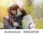 view of a man on the motorcycle ... | Shutterstock . vector #406026928