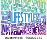 lifestyle word cloud  fitness ... | Shutterstock .eps vector #406031392