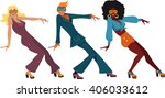 three people dressed in 1970s... | Shutterstock .eps vector #406033612