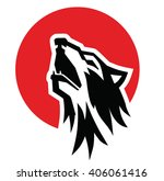 vector black wolf howl emblem... | Shutterstock .eps vector #406061416