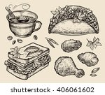 fast food. hand drawn coffee... | Shutterstock .eps vector #406061602