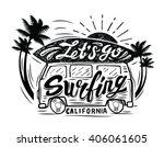 vector black surfing badge....   Shutterstock .eps vector #406061605