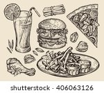 fast food. hand drawn pizza ... | Shutterstock .eps vector #406063126