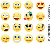 set emotions yellow faces.... | Shutterstock .eps vector #406065982