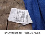 clothing labels on wooden... | Shutterstock . vector #406067686