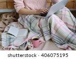 laptop on the girls knees... | Shutterstock . vector #406075195