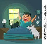 a man wakes up in the morning... | Shutterstock .eps vector #406079632