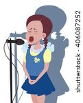 girl singing into microphone | Shutterstock .eps vector #406087252