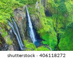 aerial view to waterfall in... | Shutterstock . vector #406118272