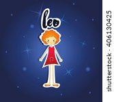 cartoon leo girl on starry...   Shutterstock .eps vector #406130425
