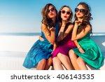 three  beautiful   glamour ... | Shutterstock . vector #406143535