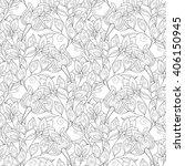 seamless monochrome floral... | Shutterstock . vector #406150945