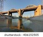 Beautiful bridge over LA river canal at dusk with reflection - landscape color photo