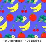 pattern tortoise and fruit ... | Shutterstock .eps vector #406180966