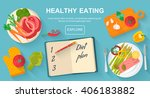 diet and healthy eating food... | Shutterstock .eps vector #406183882