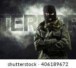 portrait of masked terrorist in ... | Shutterstock . vector #406189672