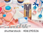 beautiful candy bar on wedding... | Shutterstock . vector #406190326