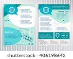 globe icon on vector brochure.... | Shutterstock .eps vector #406198642