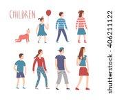 set of cartoon children in... | Shutterstock .eps vector #406211122