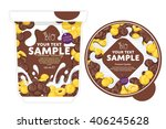 cornflakes yogurt package... | Shutterstock .eps vector #406245628