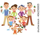 the three generation family who ... | Shutterstock .eps vector #406250005