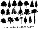 tree set silhouettes for... | Shutterstock . vector #406254478