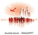 Businesspeople are standing in front of a direction sign, high buildings in the background. - stock vector