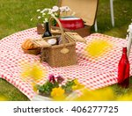 lovely romantic picnic in the... | Shutterstock . vector #406277725