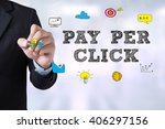 Small photo of PAY PER CLICK Businessman drawing Landing Page on blurred abstract background